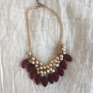 Burgundy and Gold Beaded Necklace